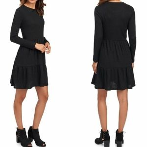 NWT Philosophy | Black Ribbed Tiered Dress